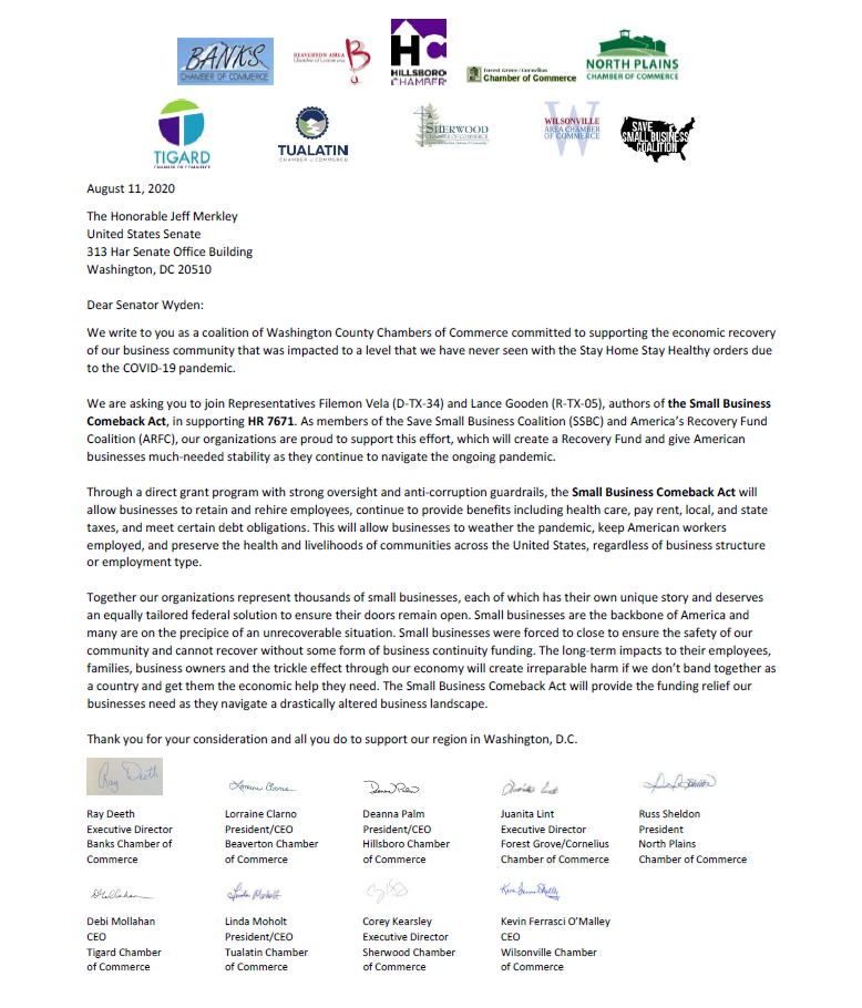 WCCCP Small Business Comeback Act Letter to Feds